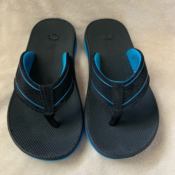 OP Ocean Pacific Toddler Boys Sandals Flip-Flops S 5-6 Beige Slip-On Ankle Strap